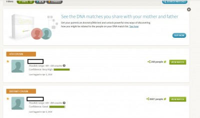 Hints page Ancestry DNA